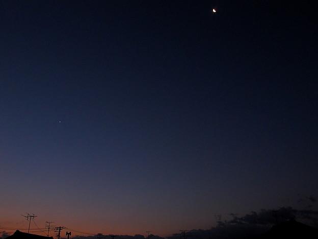 暁の月と星