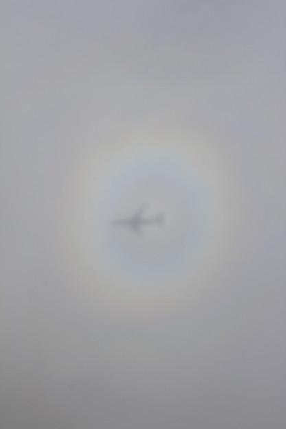 飛行機の陰に写る虹の輪。何度も見た事がある。
