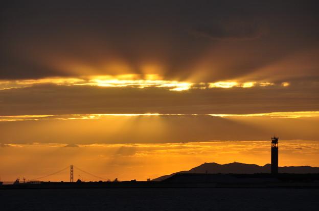 雲隠れ夕日