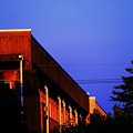 朝陽に照らされた校舎